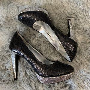 Rampage Tangela Black Silver Glitter Platforms 7